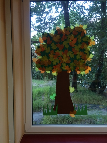 "An ""autumn tree"" on the window of my classroom at Karowa."