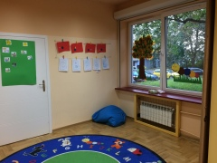 "My classroom at Karowa. The playroom, where you can see our art when we learned about ""B"" and circles."